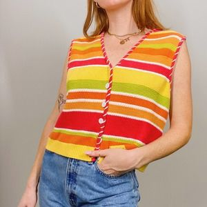 LizSport Colorful Striped Button Up Sweater Vest